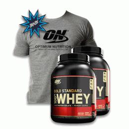 100% Whey Protein Gold Standard (2,270kg) 2 unidades + Camiseta Cinza